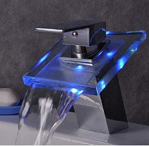 Clásico Ascensor Cuenca LED Control de Temperatura Color Cristal Grifo Disfrutación Grifería para Baño