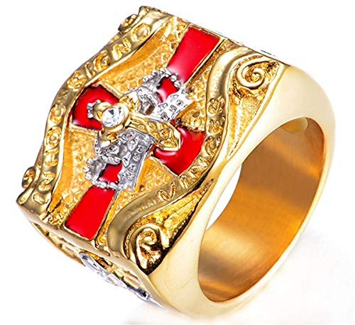 JIANLISP Los Hombres de la Cruz del Diamante Elegante de Bling templarios Mason Corona Anillos del Acero Inoxidable Mejor Promesa