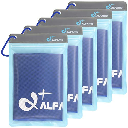 Alfamo Cooling Towels 5 Pack (Dark Blue, L), Ice Towel, Microfiber Towel, Cooling Bandanas Soft Breathable Chilly Towel for Yoga Sport Gym Workout Camping Fitness Running Workout & More Activities