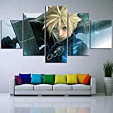 Aehoor Moderna Art 5 Piezas/Set HD Cuadro en Lienzo Impresión Artística Imagen Gráfica Decoracion de Pared Pintura de Pared Corredor Oficina Sala Decorativo Final Fantasy 80/60/40x30CM Frameless