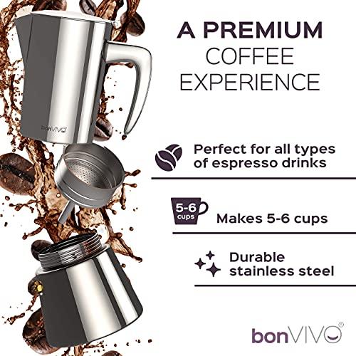 bonVIVO Intenca Stovetop Espresso Maker, Italian Espresso Coffee Maker, Stainless Steel Espresso Maker Machine For Full Bodied Coffee, Espresso Pot For 5-6 Cups, Moka Pot With Copper Chrome Finish