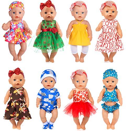 ebuddy 8 0utfits Doll Clothes Change Show, Fits for 43cm New Born Baby Doll/15 inch Dolls/18 inch Dolls