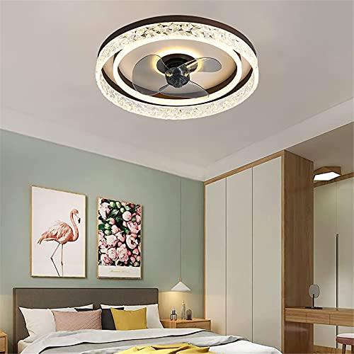 Ventilador De Techo Con 3 Lámparas,LED Luz De Techo De Cristal Ultrafina De 50 Cm,Lámpara De Araña Regulable Para Comedor Con Control Remoto Y APP, Fan Silencioso De 3 Velocidade,Marrón