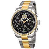 Akribos XXIV Explorer Mens Casual Watch - Sunray Dial - Japanese Quartz - Stainless Steel Strap - Black Silver Gold