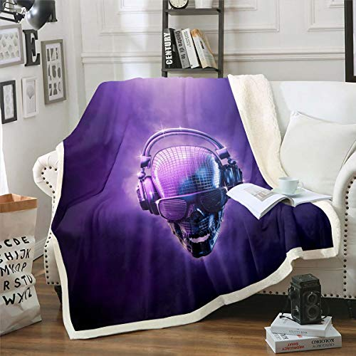 Manta de felpa con diseño de calavera geométrica para niños, niñas, ciencia ficción, diseño de esqueleto, manta de sherpa, huesos góticos, manta difusa para sofá cama, tamaño King de 87 x 94 pulgadas