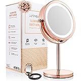 Miroir Maquillage Lumineux à LED - Miroir Grossissant de Toilette 2 en 1, Miroir Rond et Lumineux - Miroir LED + Miroir de Poche Offert par Lily England, Or Rosé