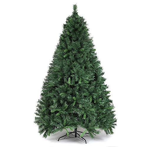 SALCAR Árbol de Navidad de 210 cm, Árbol Artificial con 868 Puntas, ignífugo, Abeto, construcción rápida Incl. Soporte para árbol de Navidad, Navidad decoración Verde 2.1 m