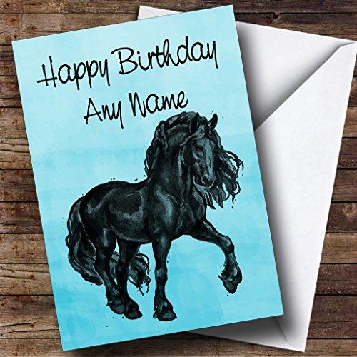 Blue Watercolor Friese Paard Gepersonaliseerde Verjaardagskaart