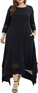 Women Plus Size Muslim Long Dress XL-5XL ❀ Ladies O-Neck Three Quarter Sleeve Solid Muslim Robes Clearance Sale !