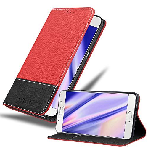 Cadorabo Hülle für Samsung Galaxy A3 2016 (6) - Hülle in ROT SCHWARZ – Handyhülle mit Standfunktion und Kartenfach aus Einer Kunstlederkombi - Case Cover Schutzhülle Etui Tasche Book