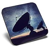 Posavasos cuadrado con diseño de antena parabólica y cielo nocturno, de calidad brillante, protección de mesa para cualquier tipo de mesa #3642