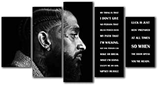 Rapper Nipsey Quotes Canvas Giclee Print Paintings HD 5 Panels Picture Wall Artwork Split Canvases Home Decorations Framework