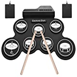 Muslady USB Electronic Drum Set, USB Roll-Up Drum Set Electronic Drum Kit 7 Drum Pads with Drumsticks Foot Pedals for Beginners Children Kids