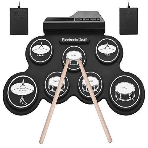 Muslady Tamaño Compacto USB Roll-Up Silicon Drum Set Kit de Batería Electrónica Digital 7 Drum Pads con Pedales para Pincipiantes Niños
