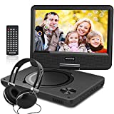 WONNIE 10.7 inch Portable DVD Player with 9 inch Rotatable Screen, 5 Hours Rechargeable Battery, USB / SD Slot, for Kids and Car( Black )