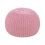 VINGLI Round Knit Pouf, Knit Stool Ottoman Home Decoration Knit Bean Bag Floor Chair for Living Room, Bedroom and Kids Room, Contemporary Style, Pink