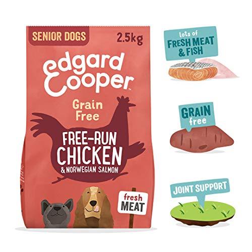 Edgard & Cooper Pienso Perros Senior Comida Seca Natural Sin Cereales 2.5kg Salmon y Pollo Fresco, Naturalmente fácil de digerir, Alimentación Sana Sabrosa y equilibrada, Proteína