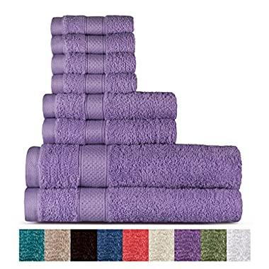 Welhome 100% Cotton 8 Piece Towel Set (Lilac); 2 Bath Towels, 2 Hand Towels and 4 Washcloths, Machine Washable, Super Soft by