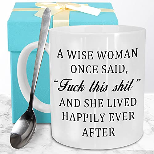 Funeon Funny Coffee Mug Birthday Gifts for Women Sister Mom Best Friend Coworkers Wife Grandma Aunts Christmas Fun Gift A Wise Woman Once Said Novelty White Mug Unique Woman Present with Spoon