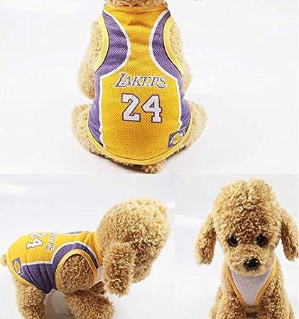 Sommerkleidung Welpen Fu/ßballteam Hididi Warmes Haustier-T-Shirt f/ür Hunde 3XL 50 cm L, Lakers Haustier-Kleidung f/ür Hunde s/ü/ßes weiches Weste