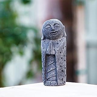 Garden Age Supply Namaste Praying Volcanic Jizo Japanese Buddha Lucky Statue