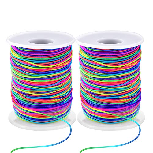 Zealor 1 mm Elastic String Cord Elastic Thread Beading String Cord for Jewelry Making Bracelets Beading 100 Meters/Roll (Multicolor)