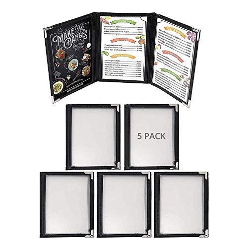 Cubiertas Tres Pliegues A6 para Menús (Pack de 5) - Cubiertas Estilo Americano Costura Doble Ribete Negro Protectores de Esquina Acero Inoxidable - para Restaurantes, Bar, Café