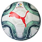 Puma LaLiga 1 Hybrid Ballon De Foot Mixte Adulte, White-Green Glimmer-NRGY Red, 5