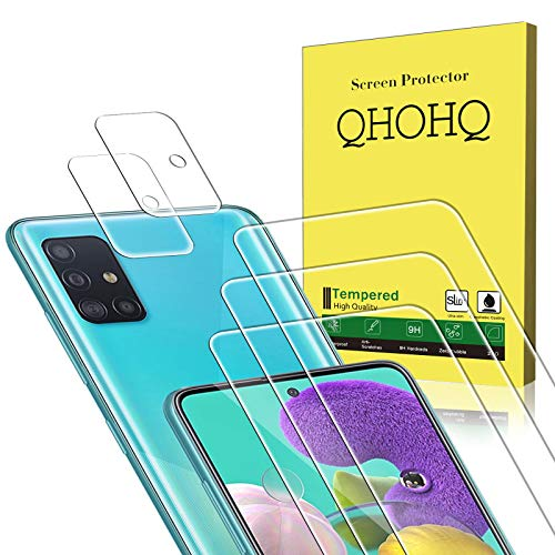 QHOHQ 3 Pack Screen Protector for Samsung Galaxy A51/Galaxy A51 5G with 2 Pack Camera Lens Protector,Tempered Glass Film, [9H Hardness] - HD - [2.5D Edge] - [Anti-Fingerprint] - [Anti-Scratch]