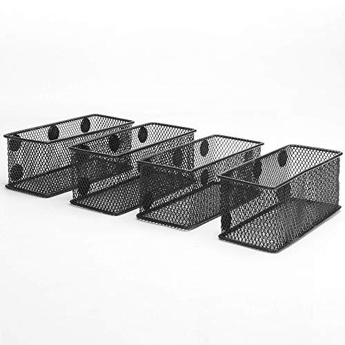 Magnetische Büro-Aufbewahrungskörbe - 4er-Pack | Desk Organizer | Magnetstifthalter | Metalldrahtkorb | Küchenorganisatoren | Pukkr