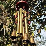 Chianrliu Carillon du vent, vous souhaite la prospérité: chinois traditionnel incroyable 4 tubes 5 cloches et base en bois Bronze Windchime pour patio extérieur, jardin et décoration intérieure