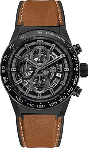 Tag Heuer Carrera CAR2A91.FT6121 - Reloj de pulsera para hombre, esfera de esqueleto negra, correa marrón