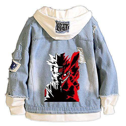 Tokisaki Men Trucker Jacket Woman Denim Jacket Fashion Classic Denim Jacket Ripped Denim Jacket Coats Akatsuki Costume (XL, Blue-1)
