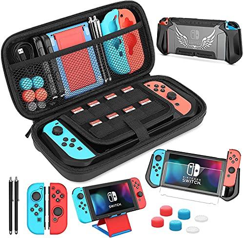 HEYSTOP Funda para Nintendo Switch, 14 en 1 Accesorios para Switch con Carcasa Switch, Protector Pantalla Switch, Soporte Switch, Joy-con Protector, Tapas de Agarre para el Pulgar, Lápiz Stylus