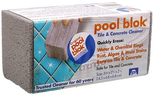 Pool Blok, PB-12 by US Pumice, Pumice Stone for Cleaning of Pools, Tiles, Will Remove Lime, Rust, Stains from Pool Tiles and Grout, 5.75x2.87x2.87 (1)