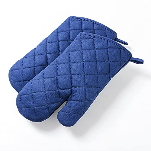 Anyi Cotton Oven Mitts for Microwave BBQ, Sollid Oven Gloves with Non-Slip and Heat Resistance for Kitchen Cooking Baking Grill Barbecue Present, Set of 2 (Blue)