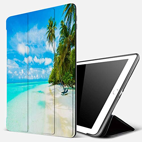 iPad 9.7 inch 2017/2018 Case/iPad Air/Air 2 Cover,Sun Blue Resort Tropical Beach Sea Maldives Sky Island Nature Parks Paradise Tree Ocean,PU Leather Shockproof Shell Stand Smart Cover with Auto Wake
