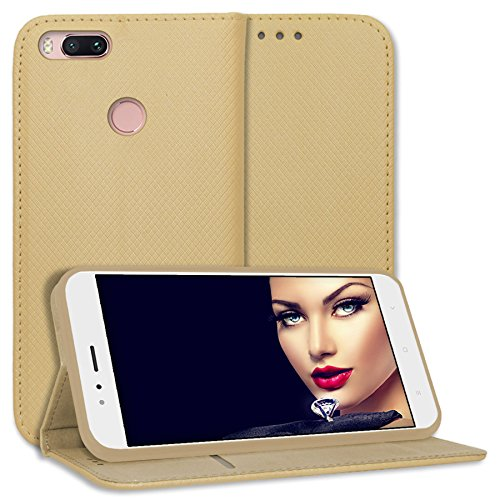 mtb more energy® Funda Bookstyle para Xiaomi Mi A1 / Mi 5X (5.5'') - Oro - Cuero sintético - Carcasa Cubierta Estuche Carátula