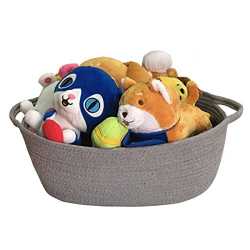 Large Rope Woven Storage Basket with Handles for Clothes,Blankets,Toys Nursery Organizer,Collapsible Storage Bin, Laundry Baskets
