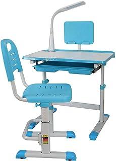 TFCFL Escritorio infantil con cajón y silla regulable en altura para niños en cualquier habitación infantil, escritorio de estudiante (azul)