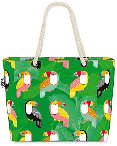VOID Tukan Vögel Safari Strandtasche Shopper 58x38x16cm 23L XXL Einkaufstasche Tasche Reisetasche Beach Bag