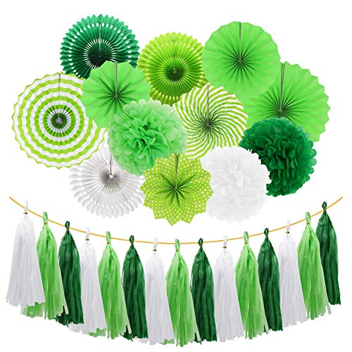Meiduo Green Party Decorations Hanging Paper Fans Pom Poms Flowers Tissue Tassel Garland for Graduation St. Patrick's Day Decoration Tropical Hawaiian Party