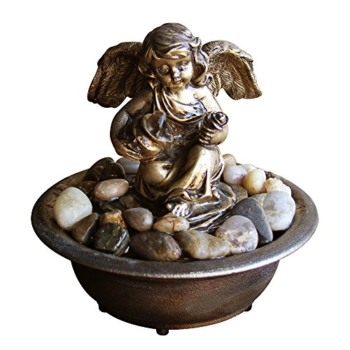 Nature's Mark Serene Cherub Relaxation Water Fountain with Authentic River Rocks 10062