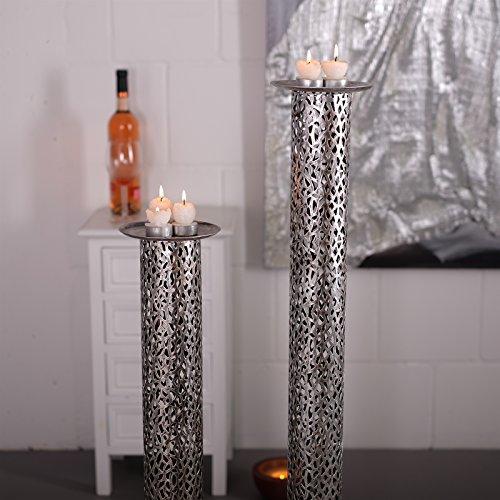 DESIGN DELIGHTS Riesen KERZENSTÄNDER Set Eternal | Metall, antik-Silber, 80/100 cm | edler Kerzenleuchter, Kerzensäule, Teelichthalter