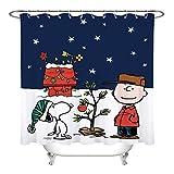 KOYOFEI Weihnachts-Duschvorhang, lustiger Charlie Brown Snoopy-Druck, Badezimmer-Duschvorhang, 3D gedruckt, wasserdicht, Duschvorhänge niedliches Badezimmer-Set mit 12 Haken, 168 x 183 cm