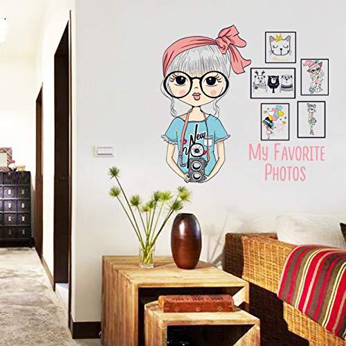 MMLFY Muursticker mode fotografie meisje fotolijst muursticker kinderkamer slaapkamer mooie meisjes decoratieve sticker DIY behang