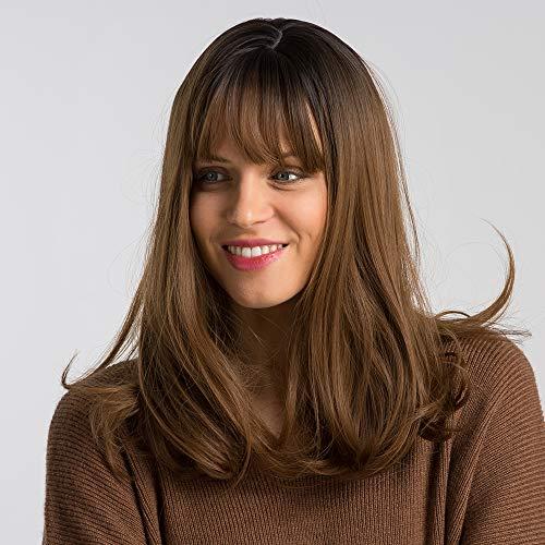 Fovermo Peluca cabello natural mujer Ombre Negro marrón