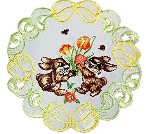 Espamira Tischdecke Weiß Ostern Osterhase Gestickt Tulpen Osterdecke Ostertischdecke (20 cm rund)