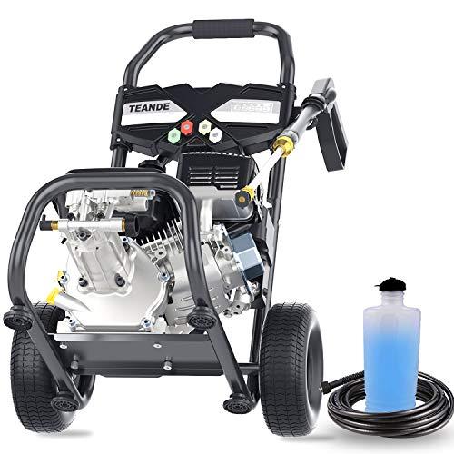 TEANDE 4200PSI Gas Pressure Washer 2.8GPM Power Washer 212CC Gas Pressure Washer Powered, High-Pressure Hose 5 Nozzles (Black)