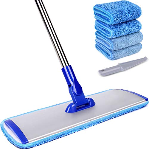 """18"""" Professional Microfiber Mop Floor Cleaning System, Flat Mop with Stainless Steel Handle, 4 Reusable Washable Mop Pads, Wet and Dust Mopping for Hardwood, Vinyl, Laminate, Tile Cleaning"""